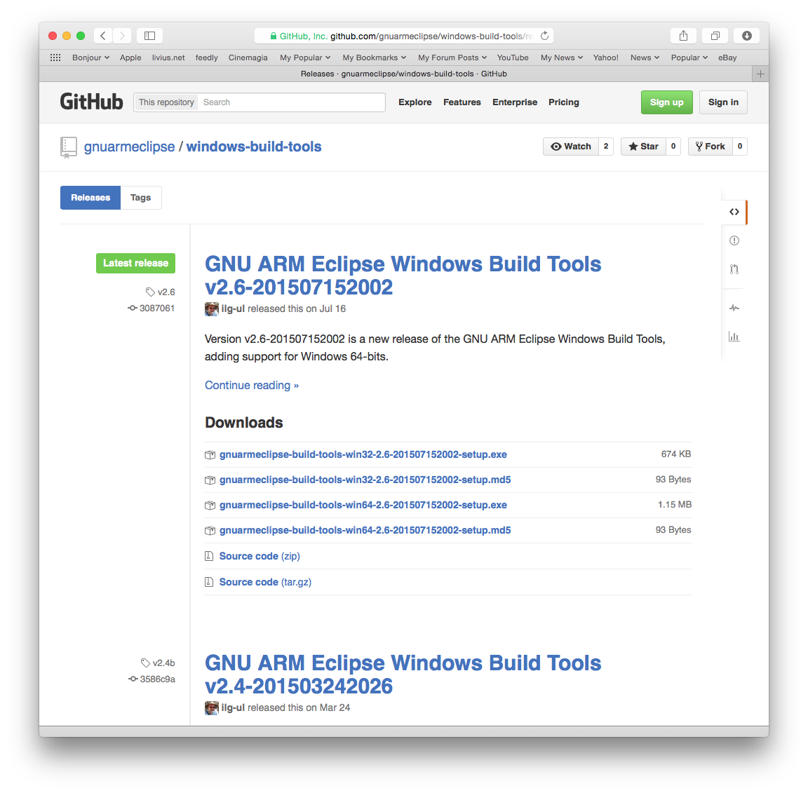 The Windows Build Tools Releases page