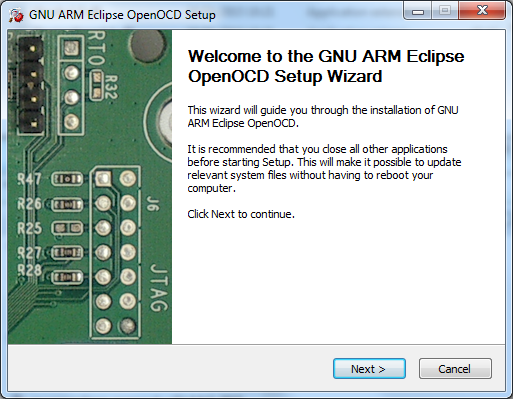 The OpenOCD Windows setup wizard