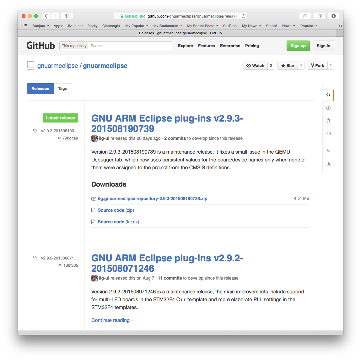 GNU ARM Eclipse GitHub Releases